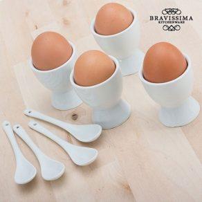 Set držača i žlica za jaja, 4 kom