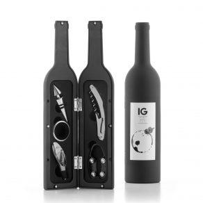 Set za otvaranje i posluživanje vina u obliku boce, 5 dijelova