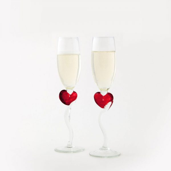 Čaše za šampanjac - srce, 2 kom