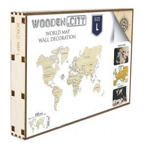 Wooden City - Drvena karta svijeta puzzle 83x55 cm