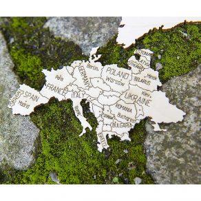 Wooden City - Drvena karta svijeta puzzle 57x35 cm