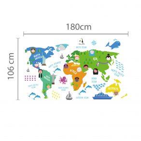Dekorativna naljepnica - dječja karta svijeta