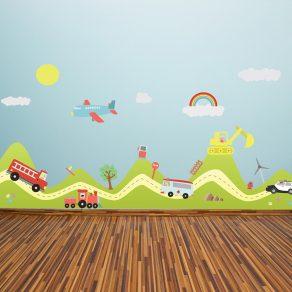 Dekorativna naljepnica - brežuljci i auti