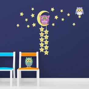 Svjetleća dekorativna naljepnica - sove i zvjezdano nebo