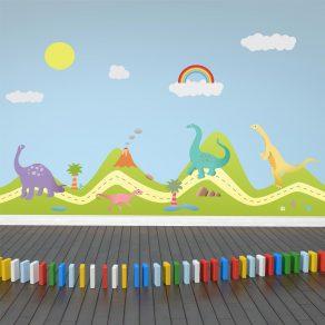Dekorativna naljepnica - brežuljci i dinosauri