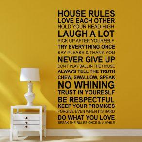Dekorativna naljepnica - kućna pravila (ENG)