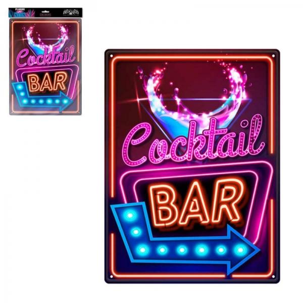 Ukrasna metalna pločica Cocktail Bar, 40 x 30 cm