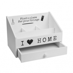 Drveni organizator s ladicom – I Love Home