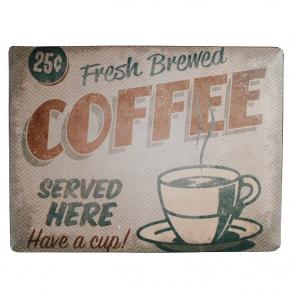 Ukrasna metalna pločica Fresh Coffee, 40 x 30 cm