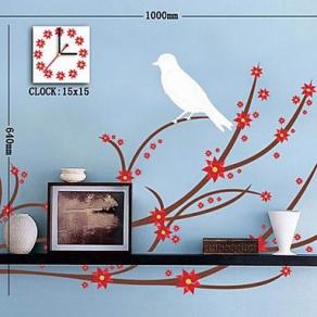 Zidni sat – Naljepnica ptica na grani