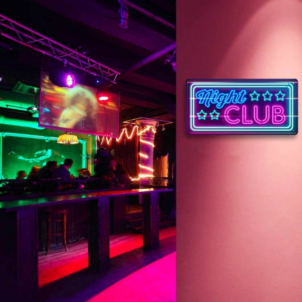 Ukrasna metalna pločica Night Club, 30 x 15 cm