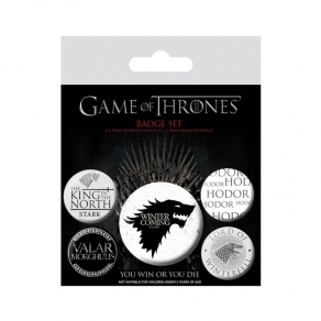 Game of Thrones - set bedževa Stark, 5 kom