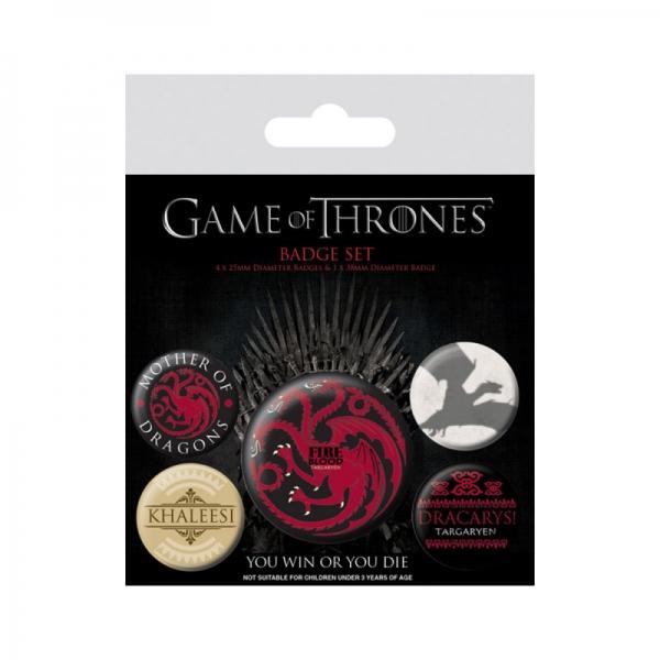 Game of Thrones - set bedževa Targaryen, 5 kom