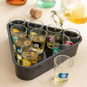 Čašice za žestoka pića s pladnjem - biljar, 11 kom