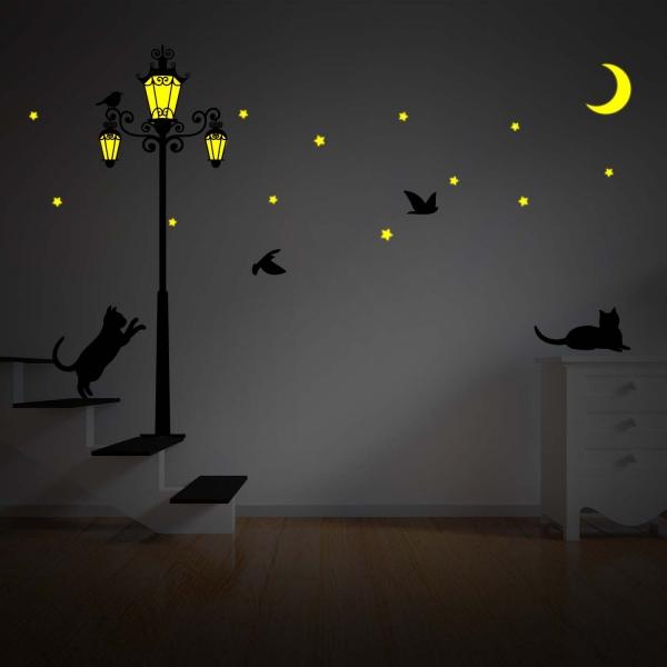 Svjetleća dekorativna naljepnica - ulična svjetiljka, zvijezde