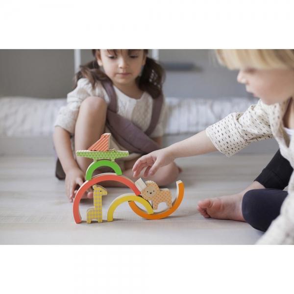 Petit Collage - Drvena igračka duga i životinje