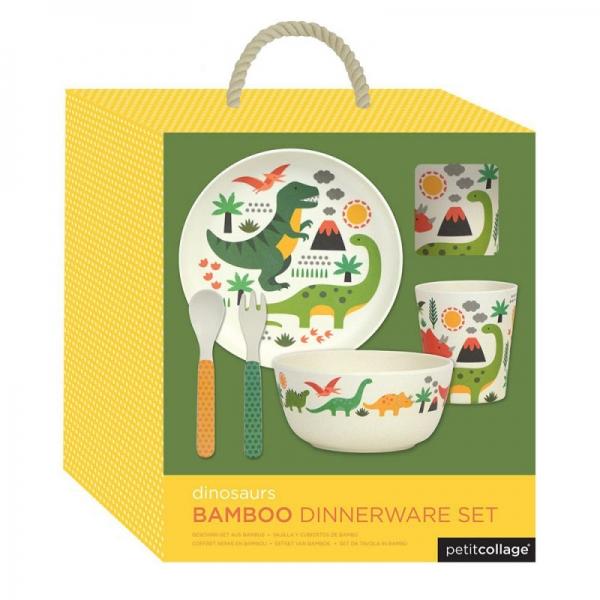 Petit Collage - Dječji set za jelo od bambusa - dinosauri