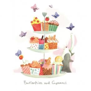 Čestitka - Butterflies and Cupcakes