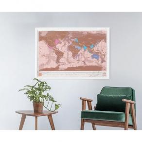Luckies - Karta svijeta strugalica Rose Gold 82 cm x 59 cm
