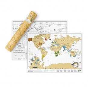 Luckies - Karta svijeta strugalica žuta - putna